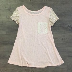 Pink Tunic with Lace Pocket and Sequin Sleeves